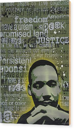 Martin Luther King Wood Print by Tai Taeoalii