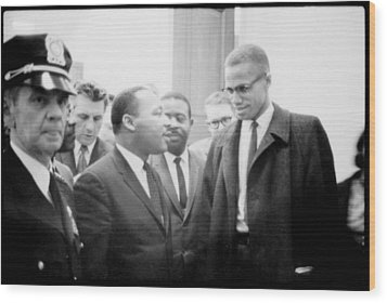 Martin Luther King Jr., And Malcolm X Wood Print by Everett