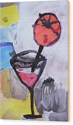 Martini And Orange Wood Print by Amara Dacer