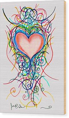 Martini Heart Wood Print by Jon Veitch