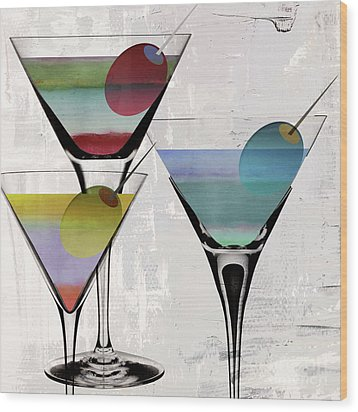 Martini Prism Wood Print by Mindy Sommers