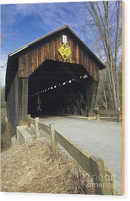 Martinsville Covered Bridge- Hartland Vermont Usa Wood Print by Erin Paul Donovan