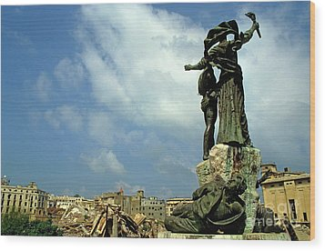 Martyr's Statues In Beirut Wood Print by Sami Sarkis