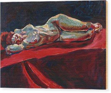 Mary - Nude - Again Wood Print by Piotr Antonow