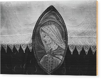 Mary Altar Cloth Wood Print by Jeanette O'Toole