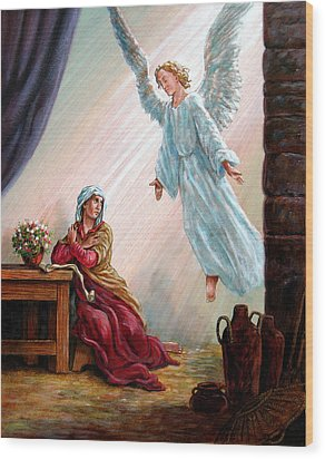 Mary And Angel Wood Print by John Lautermilch