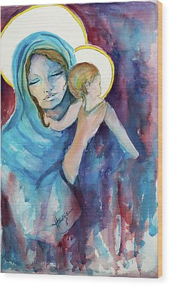 Mary And Baby Jesus Wood Print by Mary DuCharme