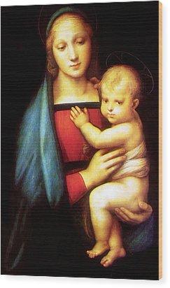 Mary And Baby Jesus Wood Print by Munir Alawi