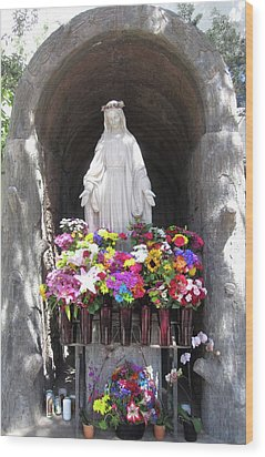 Mary At The Mission Wood Print by Mary Ellen Frazee