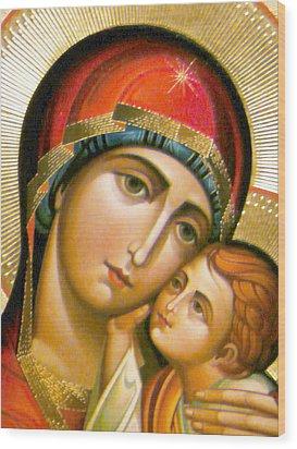 Mary Icon Wood Print by Munir Alawi