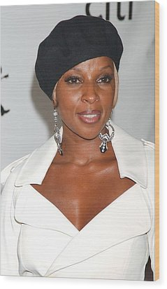 Mary J. Blige At Arrivals For The 4th Wood Print by Everett