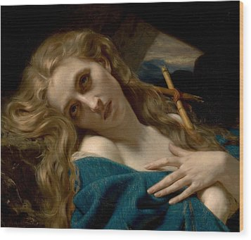 Mary Magdalene In The Cave Wood Print by Hugues Merle