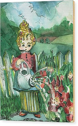 Mary Mary Quite Contrary Wood Print by Mindy Newman