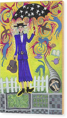 Mary Poppins Wood Print by Shoshanah Dubiner