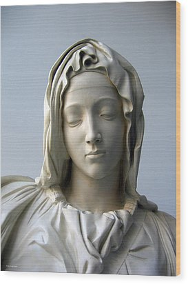 Wood Print featuring the sculpture Mary by Suhas Tavkar