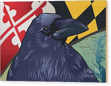 Maryland Citizen Raven Wood Print