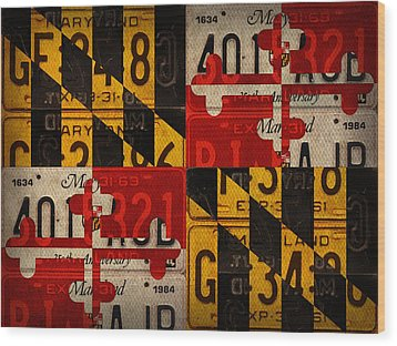 Maryland State Flag Recycled Vintage License Plate Art Wood Print by Design Turnpike