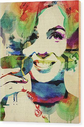 Marilyn And Her Drink Wood Print by Mihaela Pater