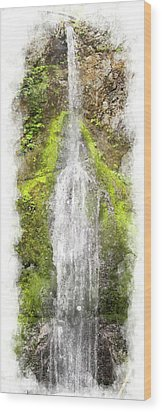Marymere Falls Wc Wood Print by Peter J Sucy