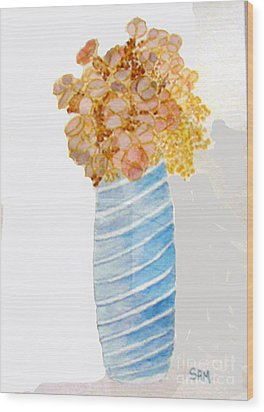 Wood Print featuring the painting Mary's Flowers by Sandy McIntire