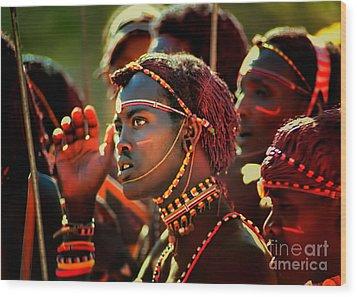 Wood Print featuring the photograph Masai by Nigel Fletcher-Jones