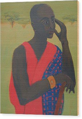 Masaii Warrior Wood Print by Renee Kahn