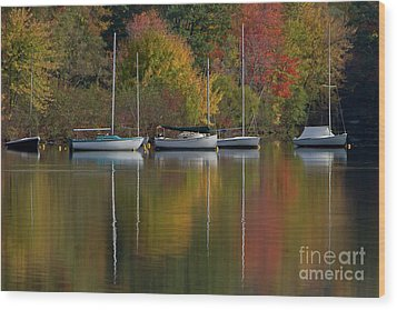 Mascoma Reflection Wood Print by Butch Lombardi