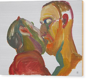 Wood Print featuring the painting Masculine Kiss by Shungaboy X
