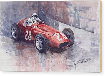 Maserati 250 F Gp Monaco 1956 Stirling Moss Wood Print by Yuriy  Shevchuk