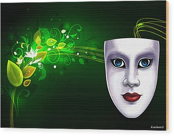Mask Blue Eyes On Green Vines Wood Print by Gary Crockett