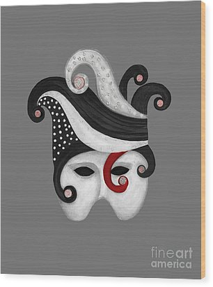 Mask In Black And White With Red Wood Print by Nareeta Martin