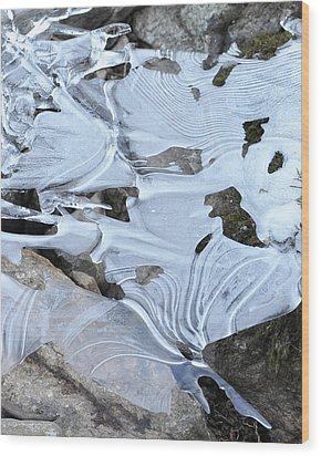Wood Print featuring the photograph Ice Mask Abstract by Glenn Gordon