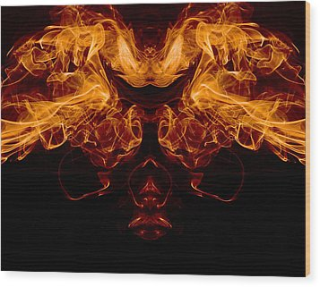 Mask Of Fire Wood Print by Val Black Russian Tourchin