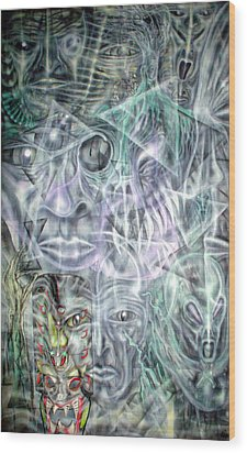 Mask Unfolding Wood Print by Leigh Odom