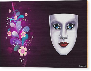 Mask With Blue Eyes Floral Design Wood Print