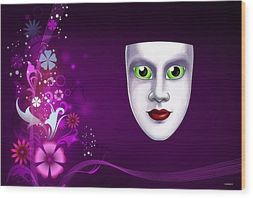 Wood Print featuring the photograph Mask With Green Eyes On Pink Floral Background by Gary Crockett
