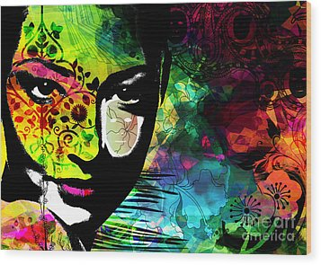 Masking Ego Wood Print by Ramneek Narang