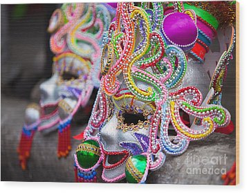 Masks Wood Print