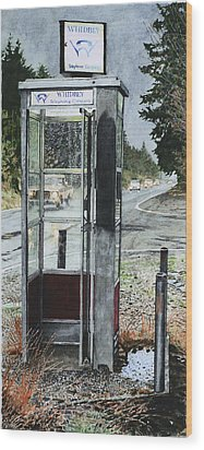 Mason-dixon Phone Booth Wood Print by Perry Woodfin