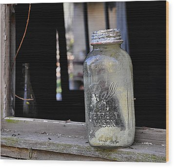 Mason Jar Wood Print by Todd Hostetter