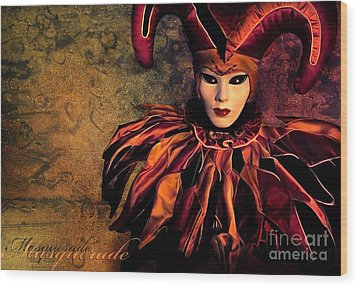 Masquerade Wood Print by Jacky Gerritsen