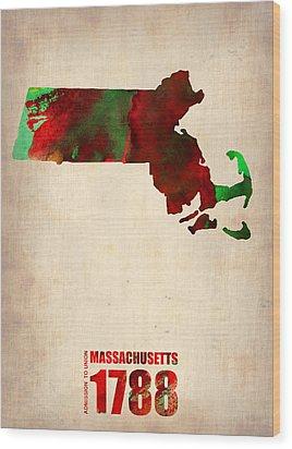 Massachusetts Watercolor Map Wood Print by Naxart Studio