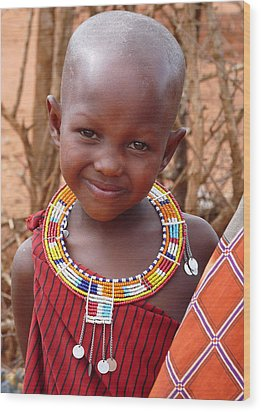 Massai Child Wood Print