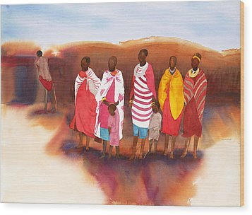 Massai Mommas Wood Print