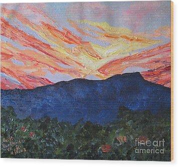 Massanutten Peak Sunrise Wood Print by Judith Espinoza
