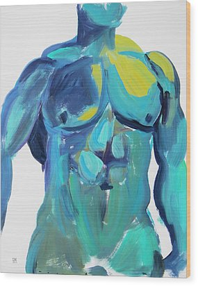 Wood Print featuring the painting Massive Hunk Blue-green by Shungaboy X