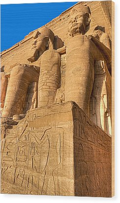 Massive Statues Of Ramses The Great At Abu Simbel Wood Print by Mark E Tisdale