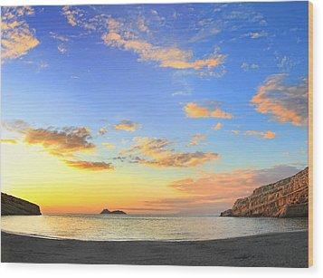 Matala Bay Sunset Wood Print