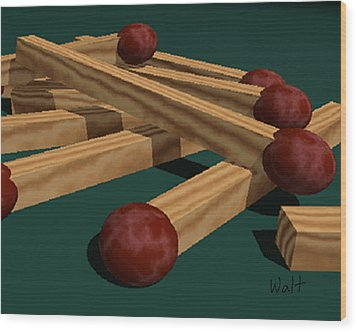 Wood Print featuring the digital art Matches by Walter Chamberlain