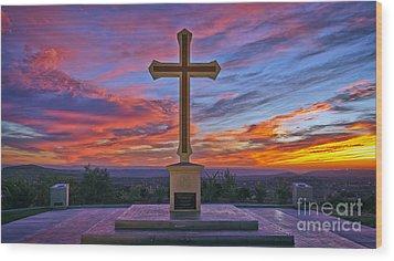 Christian Cross And Amazing Sunset Wood Print
